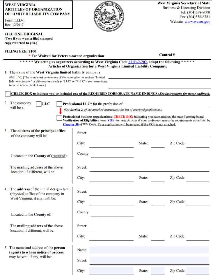 West Virginia LLC Articles of ORganization Form LLD-1 PDF