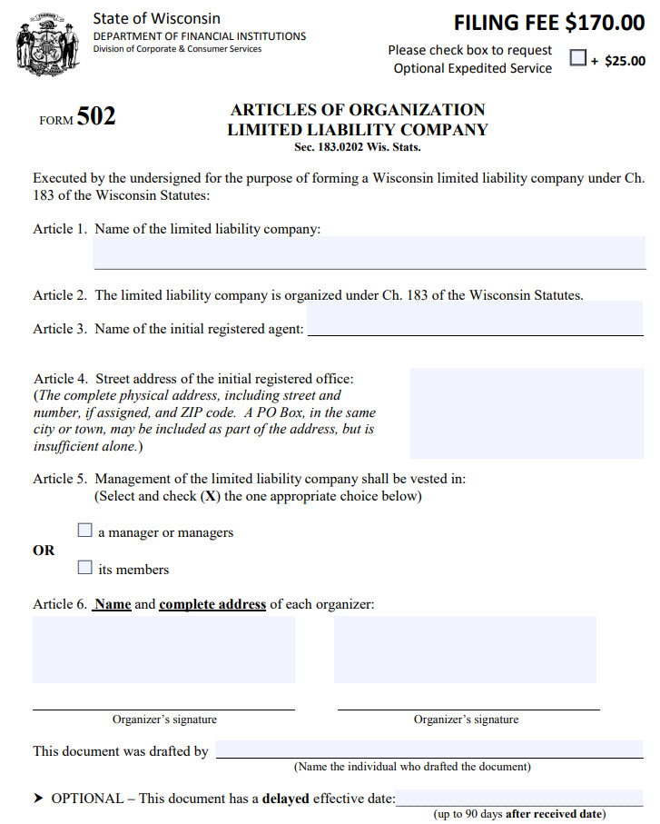 Wisconsin LLC Articles of Organization PDF Download