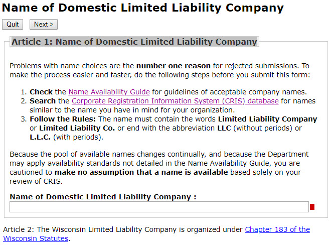 Wisconsin LLC Name Reservation