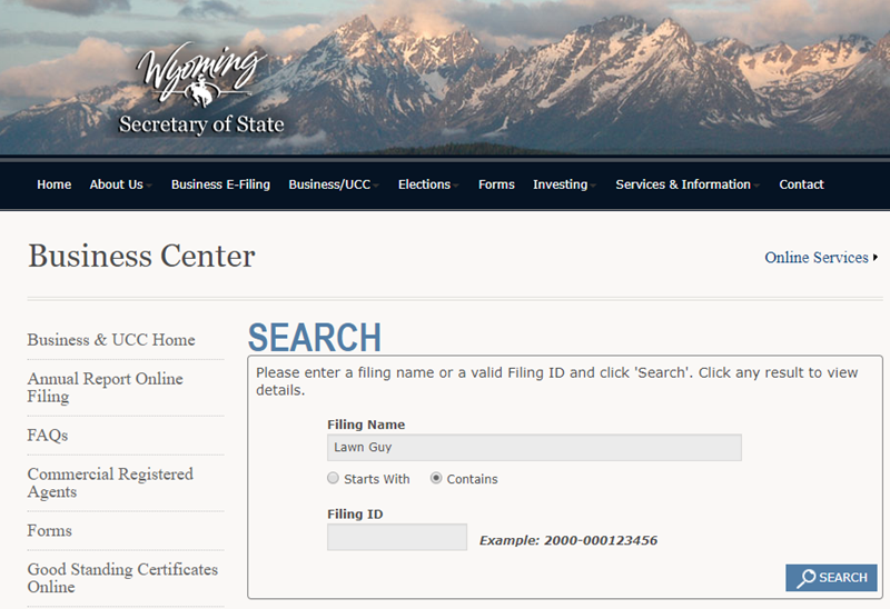 How to do a Wyoming Business Name Search