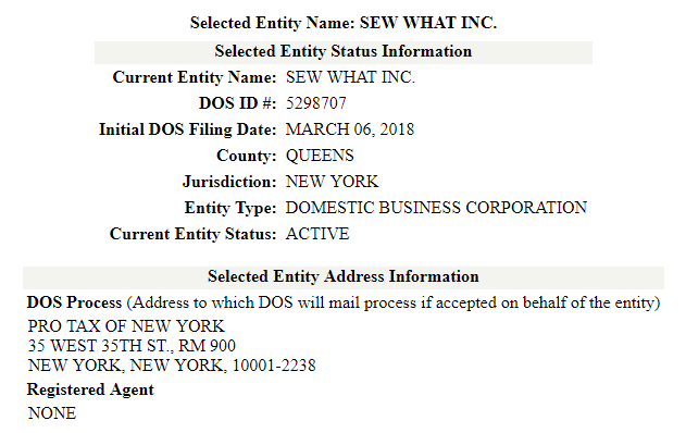 New York Corporation Search Results
