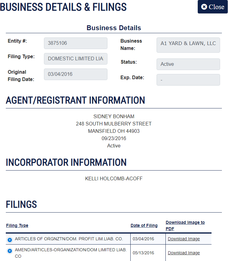 Ohio LLC Business Name Details