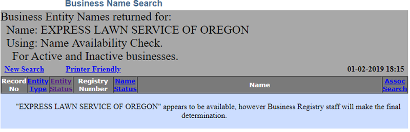 Oregon Business Name Availability
