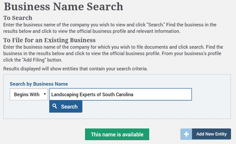South Carolina Business Name Availability