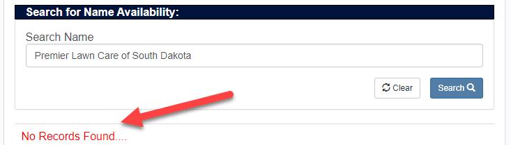 South Dakota Business Name Availability