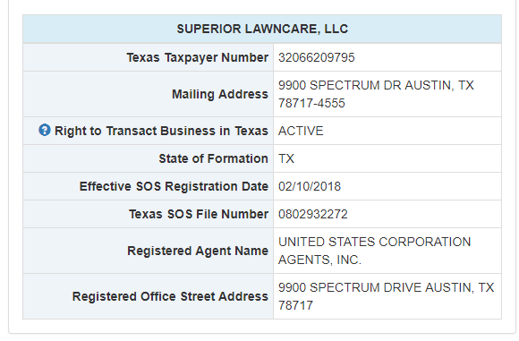 Texas LLC Name Search Details