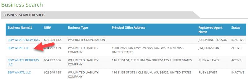 Washington Business Entity Search
