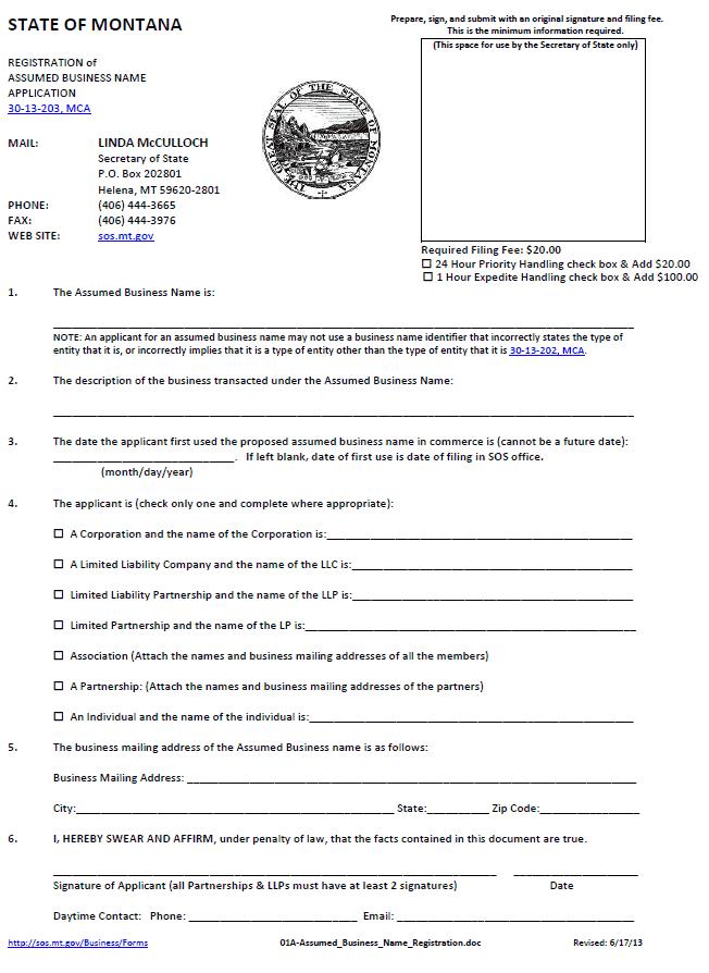 Montana Registration of Assumed Business Name Application Form (DBA)