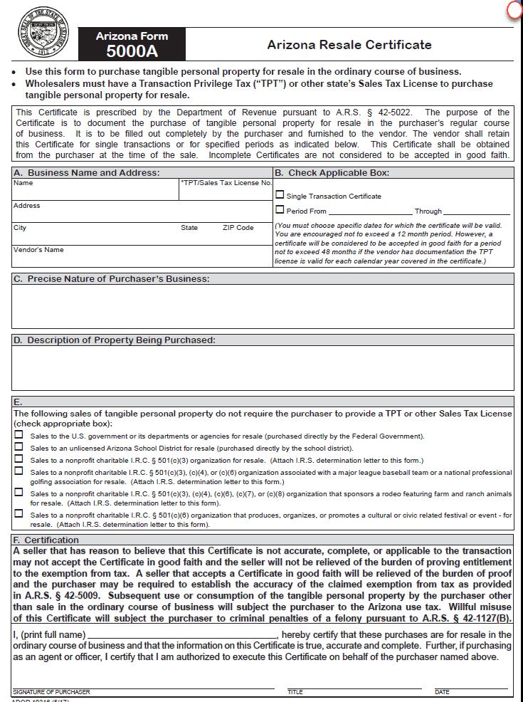 Arizona Resale Certificate - Form 5000A