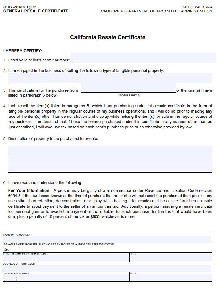 Fillable California Resale Certificate - Form CDTFA-230