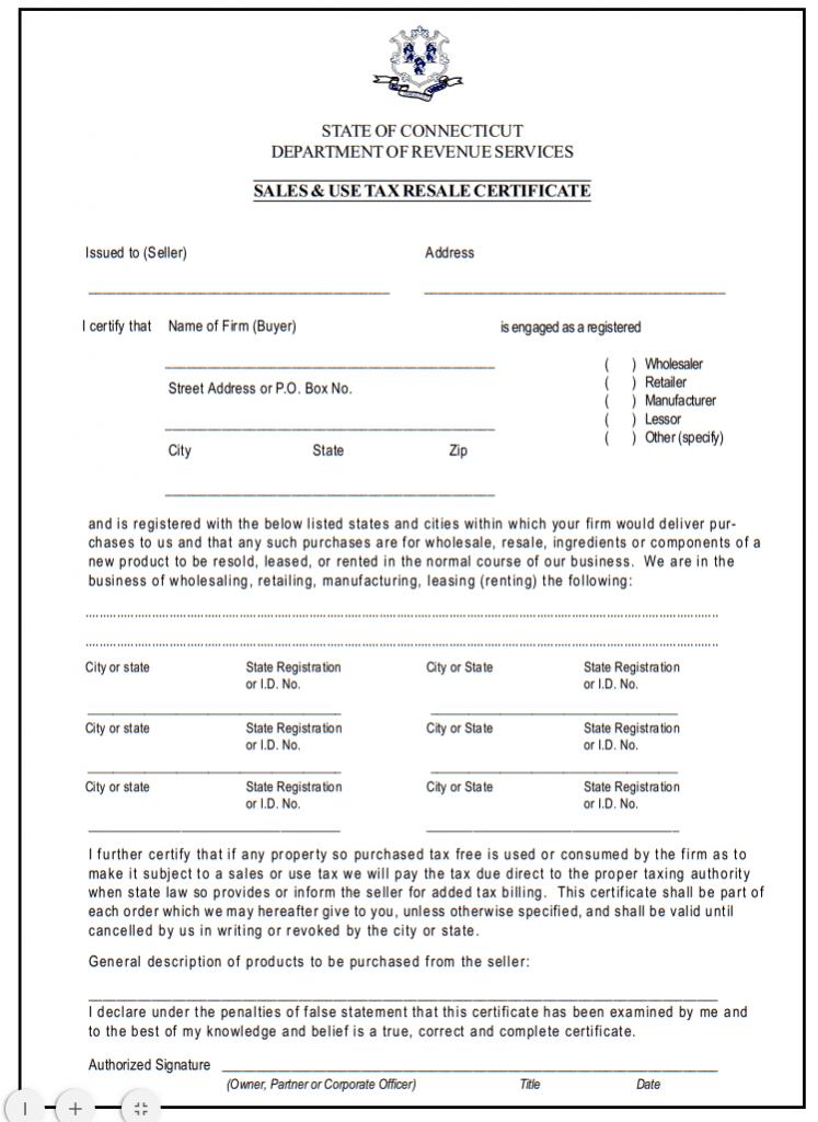 Fillable Connecticut Resale Certificate