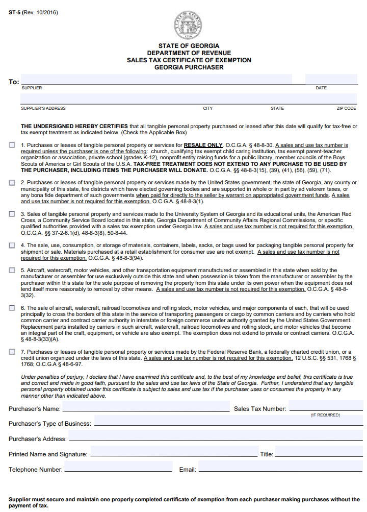Georgia Sales Tax Certificate of Exemption form