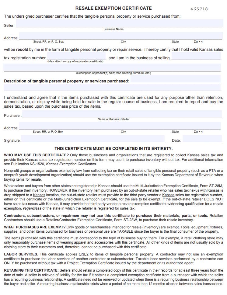 Fillable Kansas Resale Exemption Certificate - Form ST-28A
