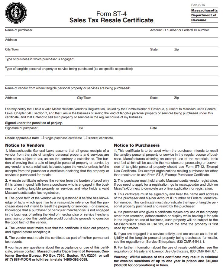 Fillable Massachusetts Resale Certificate - Form ST-4