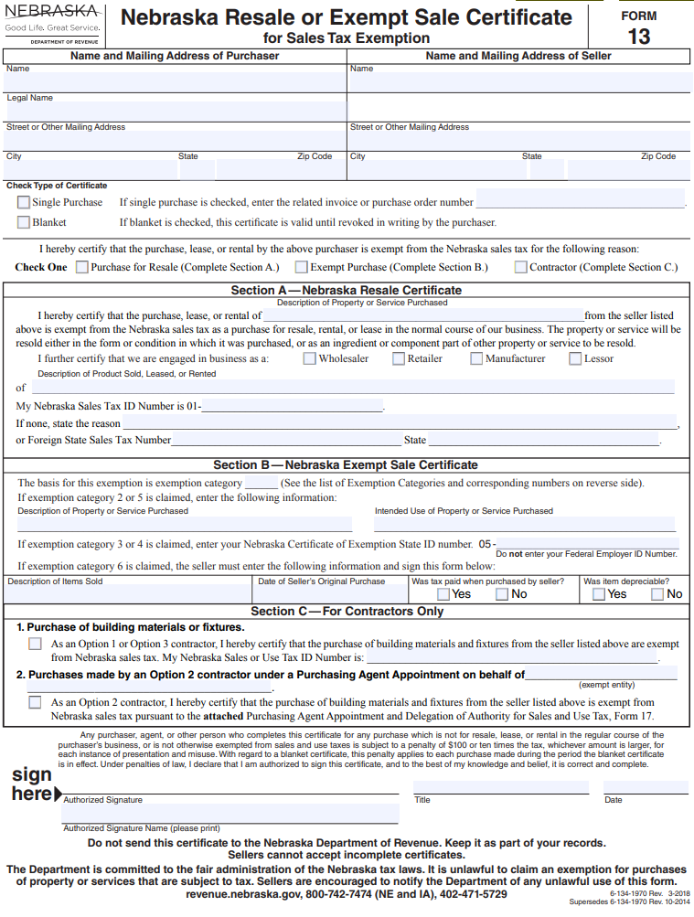 Fillable Nebraska Resale Certificate (Form 13)