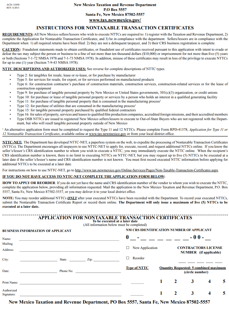 Fillable New Mexico Nontaxable Transaction Certificate (Form ACD-31050)