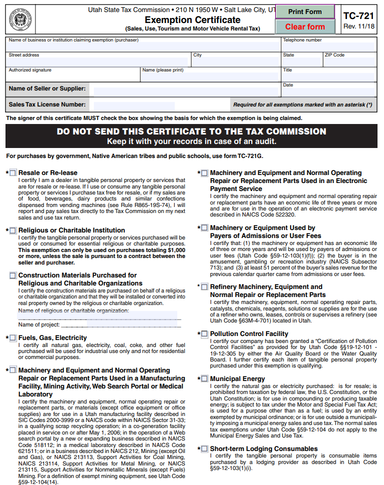 Fillable Utah Sales Tax Exemption Certificate - Form TC-721
