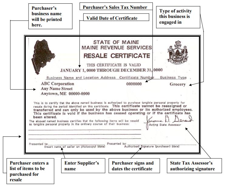 Sample Maine Resale Certificate