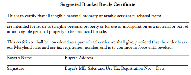 Maryland Resale Certificate Form